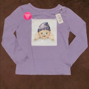 NWT Children's Place Long Sleeve Sequined Shirt S